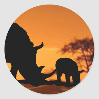rhino family round sticker
