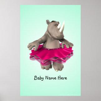 Rhino Green Poster
