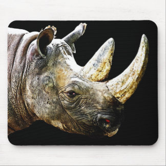 Rhino Head, Black Background Mouse Mat