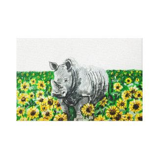 Rhino in Sunflowers Canvas Print