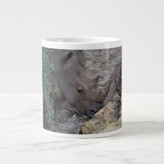 rhino in tree and rocks animal jungle africa jumbo mug
