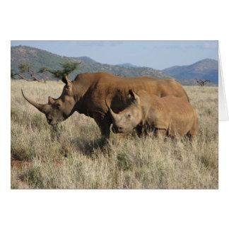 Rhino mum & baby greeting cards