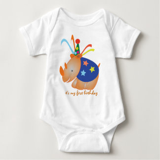 Rhino: my first birthday baby bodysuit