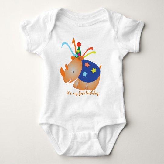 Rhino: my first birthday baby bodysuit
