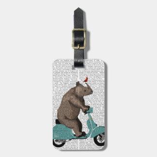 Rhino on Moped Luggage Tag