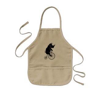 Rhino on Vintage Bike Kids Apron