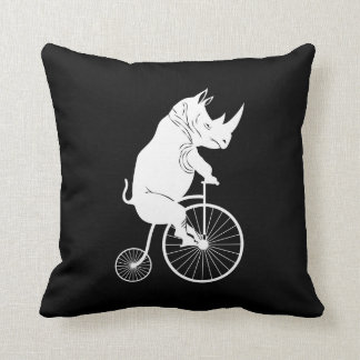 Rhino on Vintage Bike Silhouette Cushion