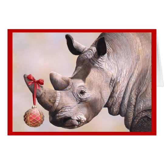 Rhino & Ornament Holiday Card