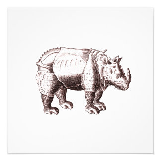 Rhino - Renaissance Style Drawing of a Rhinoceros Personalized Invitations