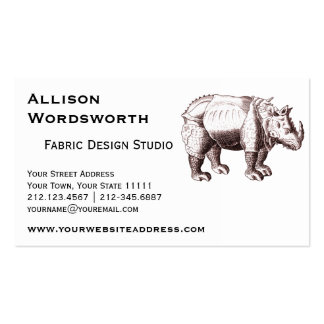 Rhino - Renaissance Style Drawing of a Rhinoceros Pack Of Standard Business Cards