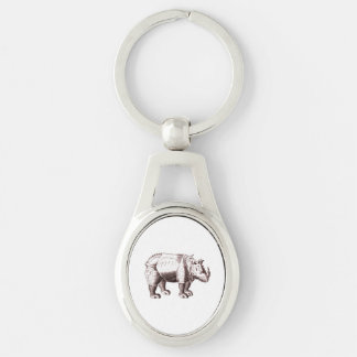 Rhino - Renaissance Style Drawing of a Rhinoceros Silver-Colored Oval Key Ring