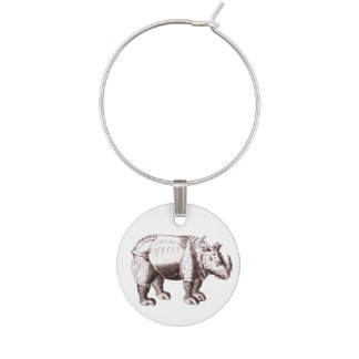 Rhino - Renaissance Style Drawing of a Rhinoceros Wine Charm