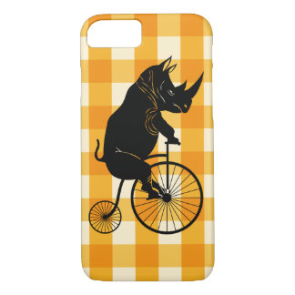 Rhino Riding a Penny Farthing Bike iPhone 8/7 Case