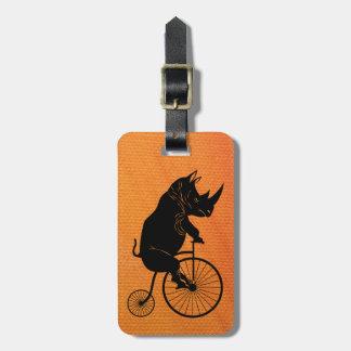 Rhino Riding Vintage Penny Farthing Bike Luggage Tag