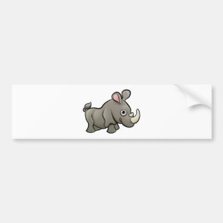 Rhino Safari Animals Cartoon Character Bumper Sticker