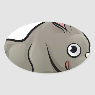 Rhino Safari Animals Cartoon Character Oval Sticker
