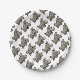 Rhino Safari Animals Cartoon Character Paper Plate