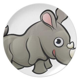 Rhino Safari Animals Cartoon Character Plate