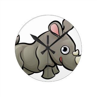 Rhino Safari Animals Cartoon Character Round Clock
