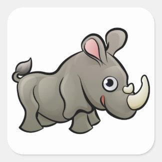 Rhino Safari Animals Cartoon Character Square Sticker
