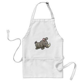 Rhino Safari Animals Cartoon Character Standard Apron