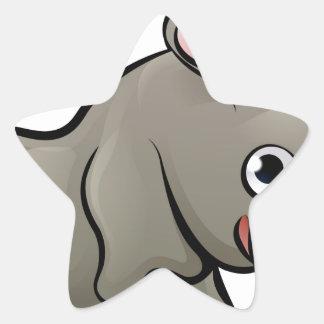 Rhino Safari Animals Cartoon Character Star Sticker