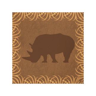 Rhino Silhouette | Facing Left | Safari Theme Canvas Print