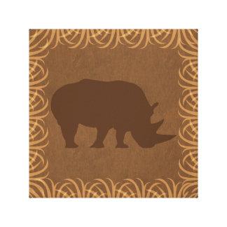 Rhino Silhouette | Facing Right | Safari Theme Stretched Canvas Print
