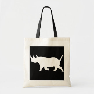 Rhino Silhouette, left facing, Black Background Tote Bag