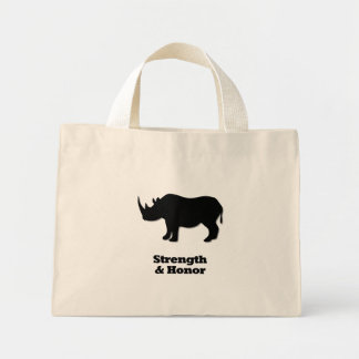 Rhino Strength And Honor black Mini Tote Bag