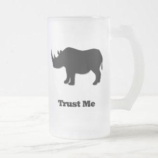 Rhino Trust Me black Frosted Glass Beer Mug