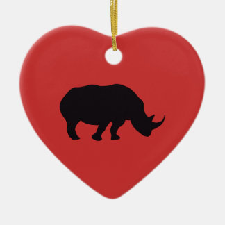 Rhino Vintage Wood Engraving Christmas Ornament