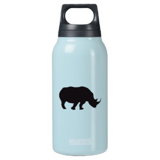 Rhino Vintage Wood Engraving 10 Oz Insulated SIGG Thermos Water Bottle