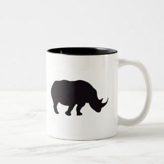 Rhino Vintage Wood Engraving Two-Tone Coffee Mug