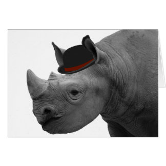 Rhino with bowler hat card