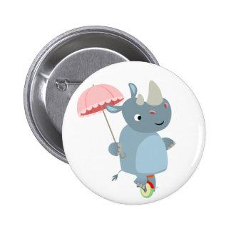 Rhino with Umbrella on Unicycle Button Badge