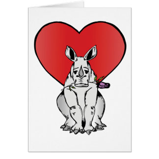 Rhino with Valentine's day heart Greeting Card
