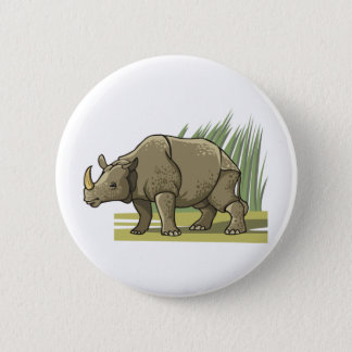 Rhinoceros 6 Cm Round Badge