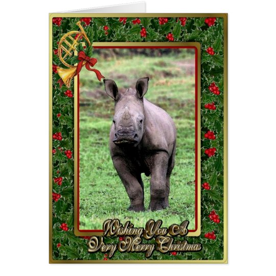 Rhinoceros African Animal Blank Christmas Card