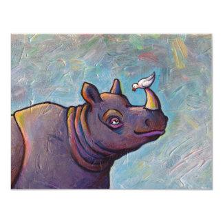 Rhinoceros art little bird gossip fun painting 11 cm x 14 cm invitation card