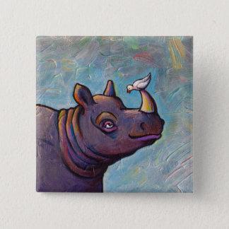 Rhinoceros art little bird gossip fun painting 15 cm square badge