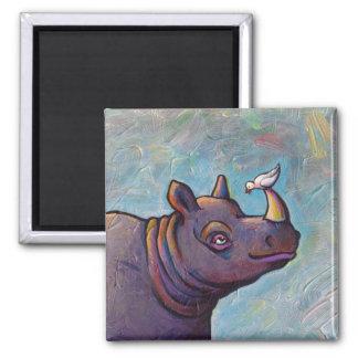 Rhinoceros art little bird gossip fun painting magnet