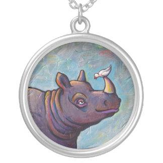 Rhinoceros art little bird gossip fun painting pendant