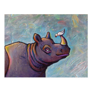 Rhinoceros art little bird gossip fun painting postcard