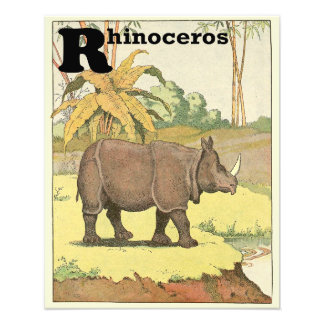 Rhinoceros at the Watering Hole Alphabet Photo Print