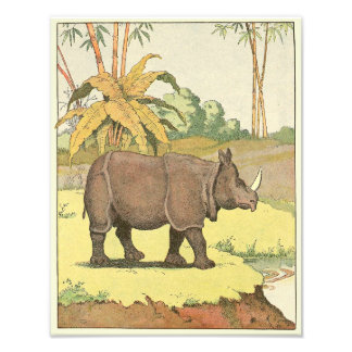 Rhinoceros at the Watering Hole Illustrated Photo Print