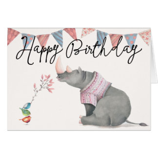 Rhinoceros & Birdies Happy Birthday Greeting Card