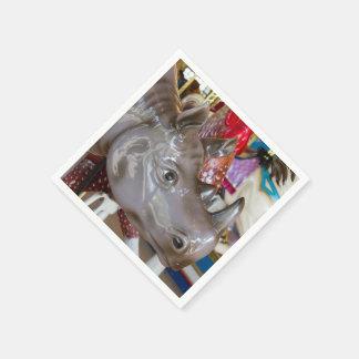 Rhinoceros Carousel Ride on Merry-Go-Round Disposable Serviette
