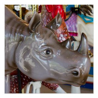 Rhinoceros Carousel Ride on Merry-Go-Round Photo