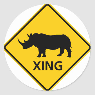 Rhinoceros Crossing Highway Sign Classic Round Sticker